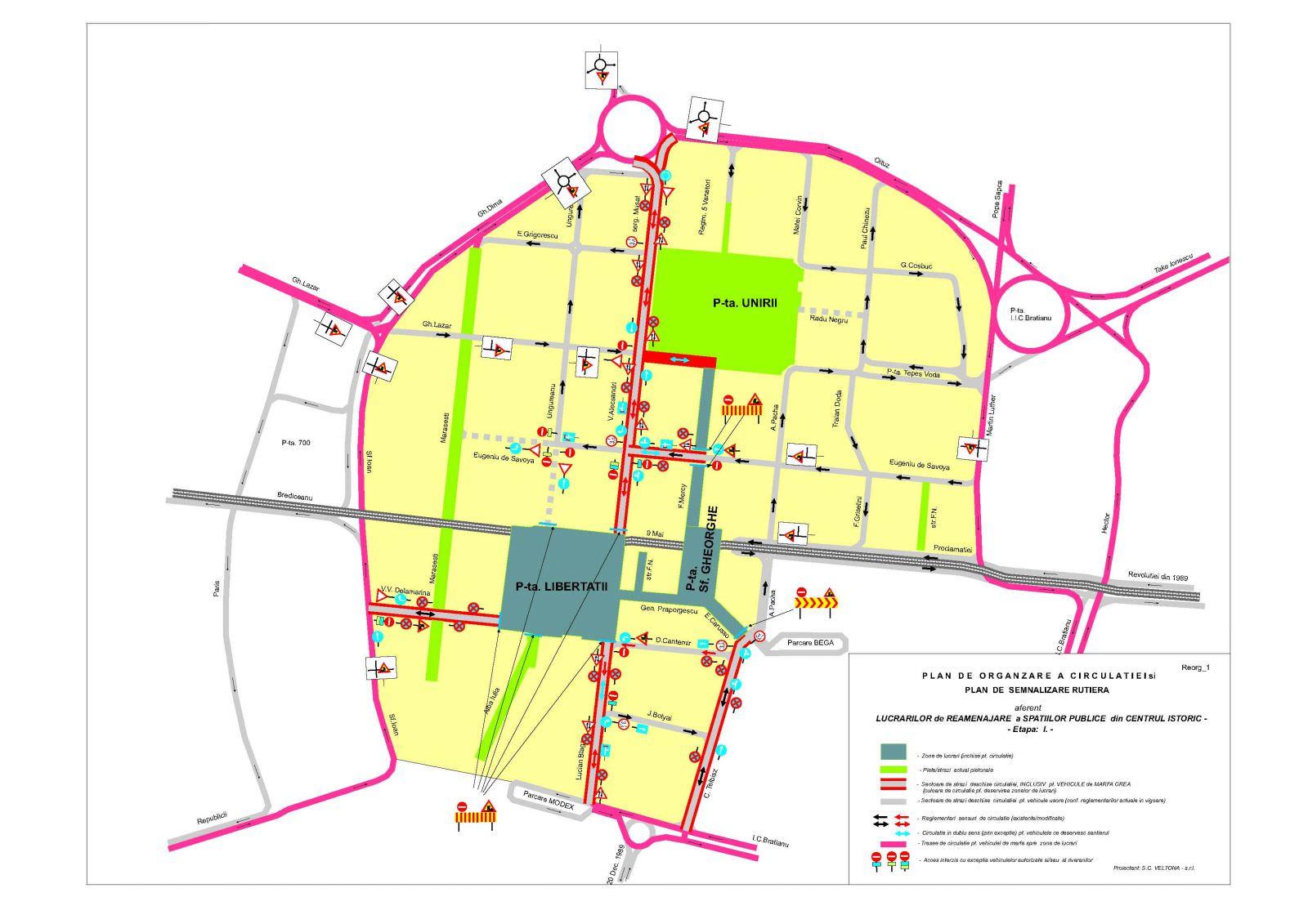 Devierea de trafic din centrul Istoric Timisoara