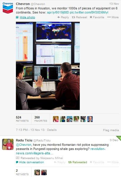 Raspunsul Chevron pe Twitter la manifestatiile de la Pungesti