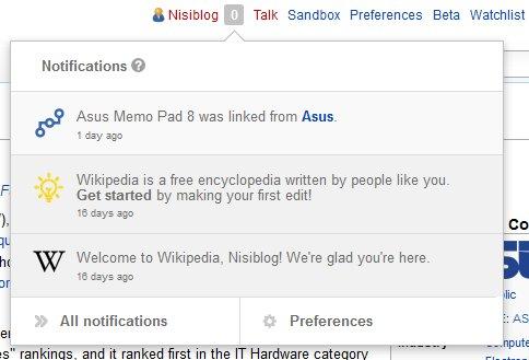 Notificare Wikipedia - pagina mea link-uita de Asus