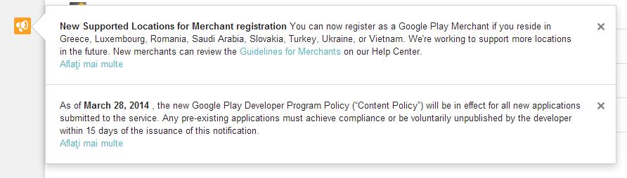 Dezvoltatorii Romani pot vinde aplicatii in Google Play