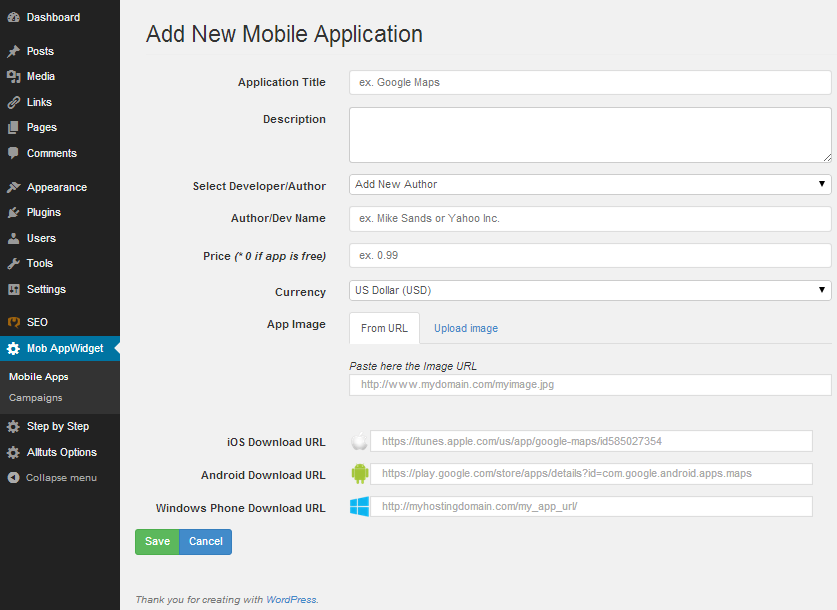 Mobile AppWidget - add new mobile application