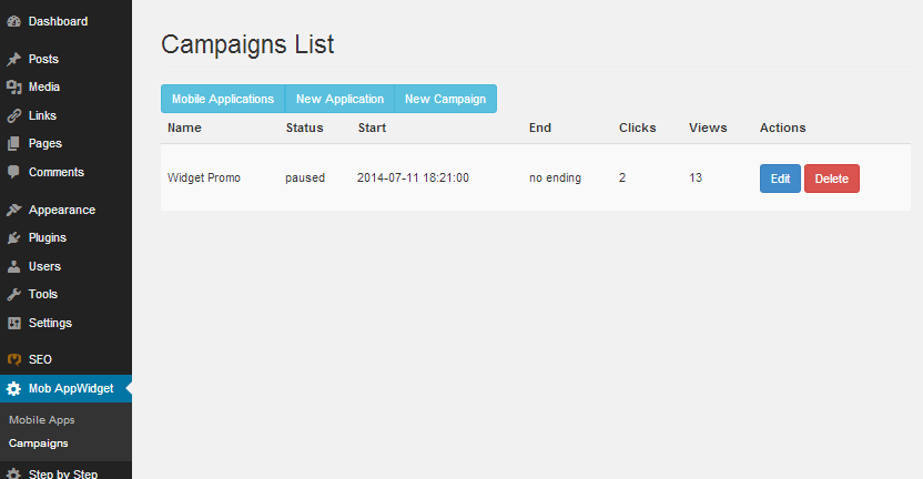 Mobile AppWidget - Campaigns listing