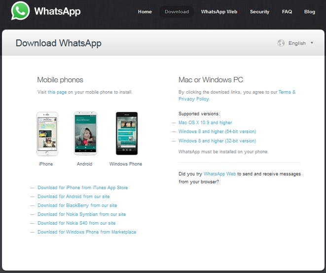Download WhatsApp pe laptop